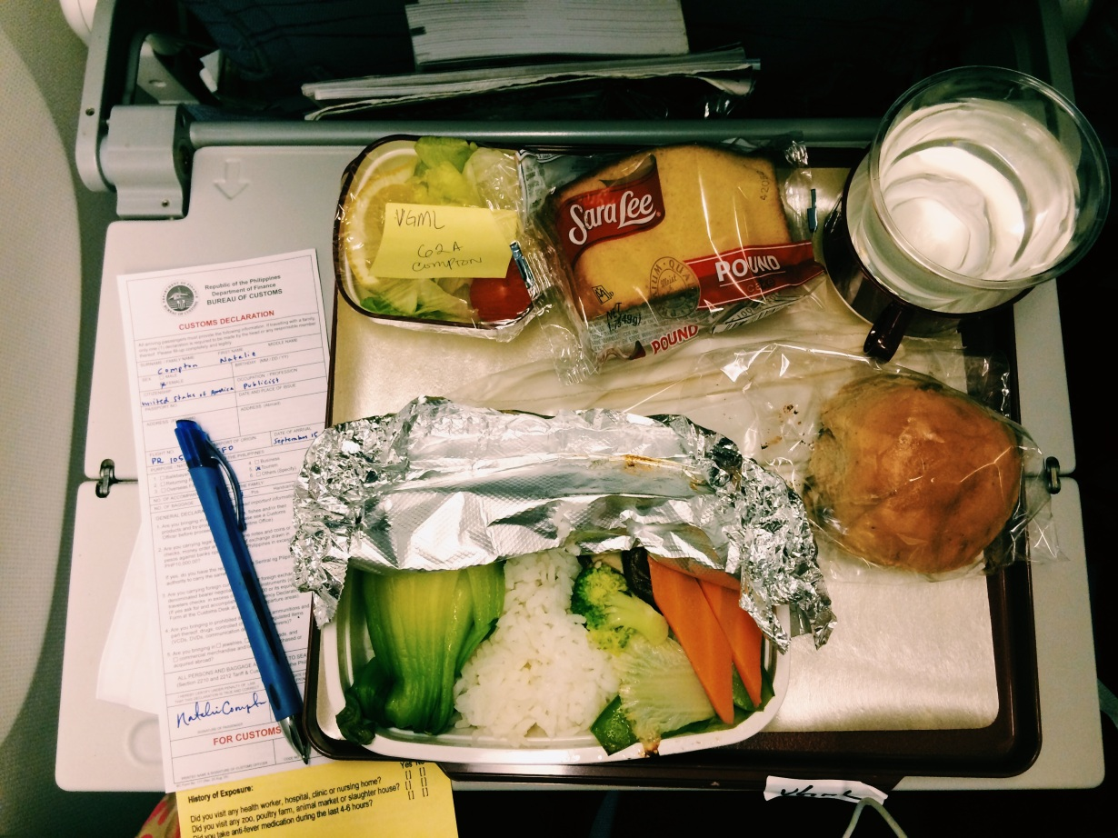 One of the trip's in-flight meals