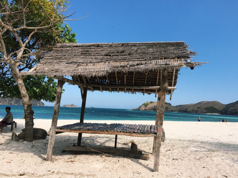 Slanty hut literally throwing us shade in Kuta Lombok