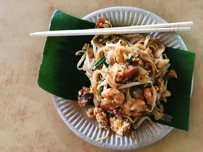 One of many delicious street eats in Penang, Malaysia: Char kway teow.