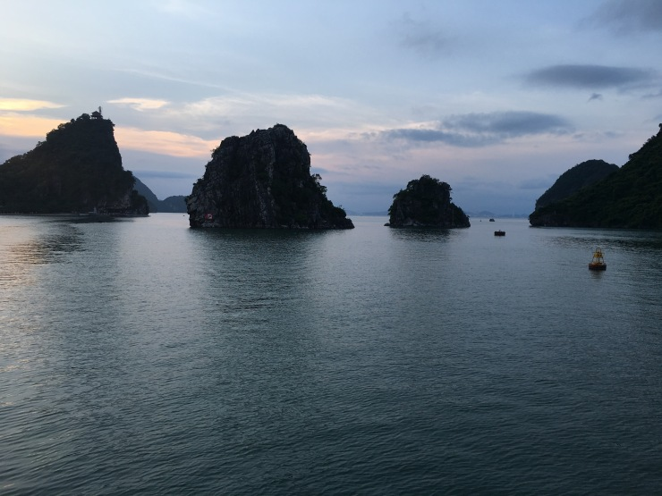 Limestone cliffs at Ha Long Bay.