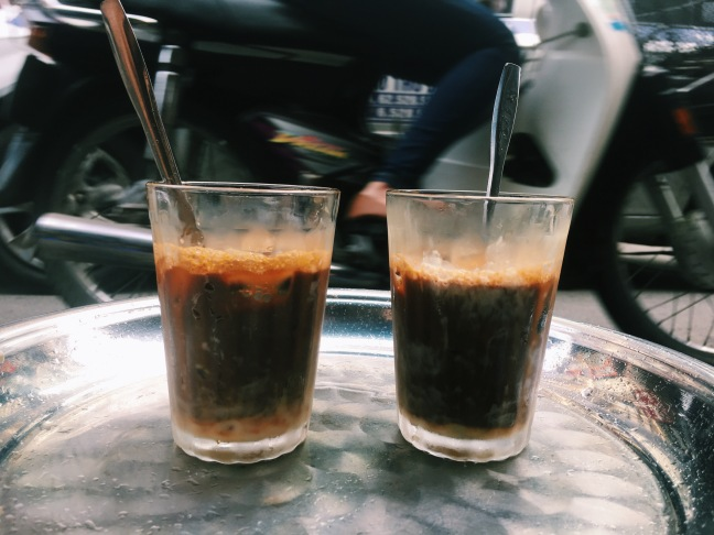 A staple of the trip, cà phê nâu đá, Vietnamese iced coffee with condensed milk.